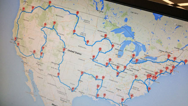 Man creates ultimate road trip map to see 48 states on louisville zip code map, american road map, all 48 states road map, 48 state motorcycle ride map, us travel map, 48 states on a motorcycle, us landmarks to visit driving map, 48 states in 48 days, large united states time zone map, 48 states in 10 days route, hands across america map, usa map, ky mammoth cave national park map, 48 states list,