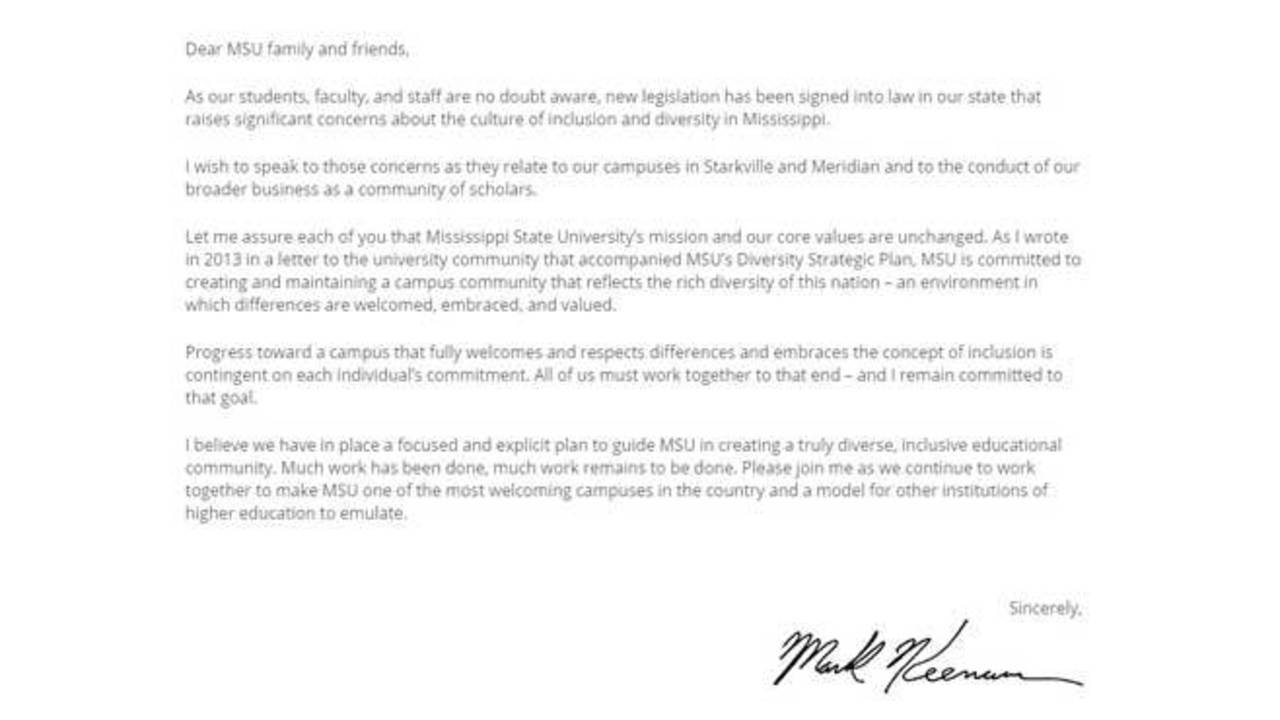 Mississippi State University Writes Open Letter About Hb