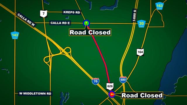 Route 626 closed for almost 24 hours due to downed power lines WKBN