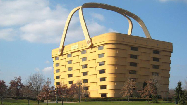 Vacant Newark Longaberger basket-shaped building vandalized