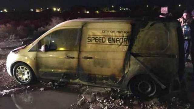 New Mexico speed camera van catches fire, police say could be arson