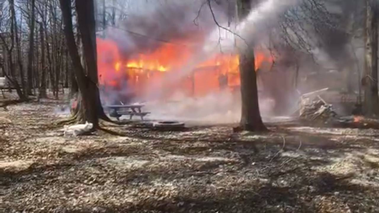 Camper Destroyed In Fire Along Willow Lake In Champion