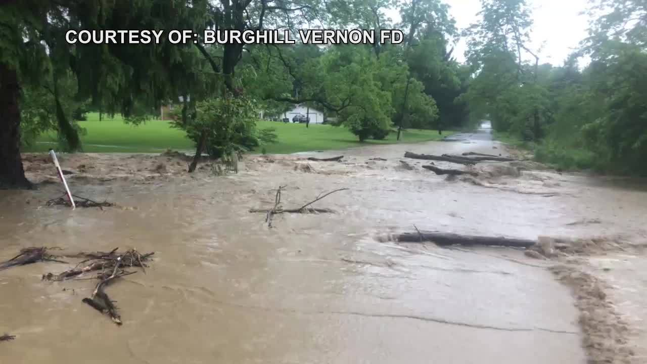WATCH: Flash Flood Closes Road In Trumbull County